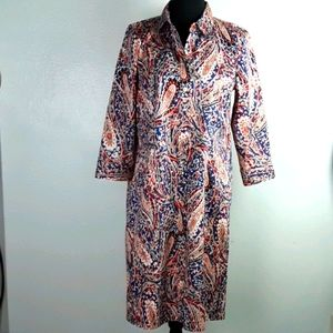 Talbots sz 8 paisley button front dress
